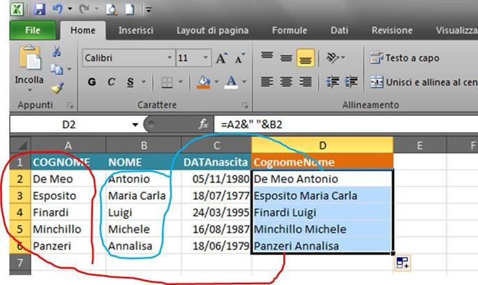 Come Unire Due Foto.Foglio Di Calcolo Excel Come Unire I Contenuti