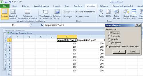 Excel Menu Visualizza