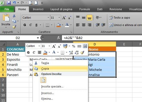 Copiare Celle In Excel